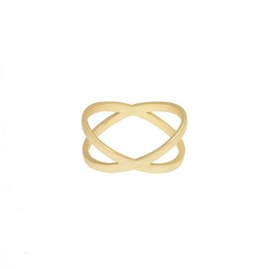 Flat cross ring Gold plated