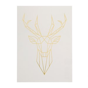 Deer head gold foil postcard