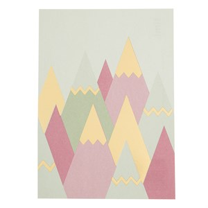 Mountains gold foil postcard