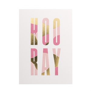 HOO RAY gold foil postcard