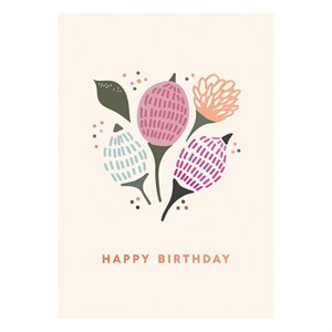 Happy Birthday Flowers Rose Gold Postcard