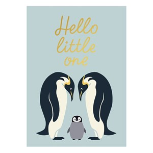 Hello Little One Gold Postcard