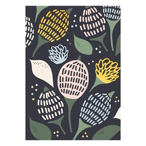 Dark Flower Pattern postcard