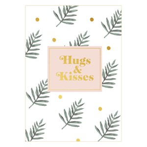 Hugs & Kisses leaves postcard