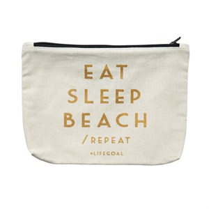 Canvass Pouch-Eat, Sleep, Beach
