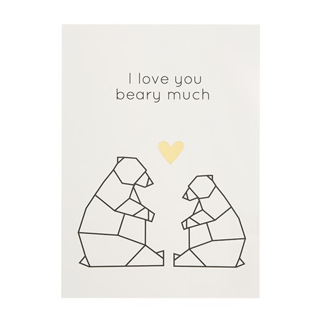I Love You Beary much Gold Postcard