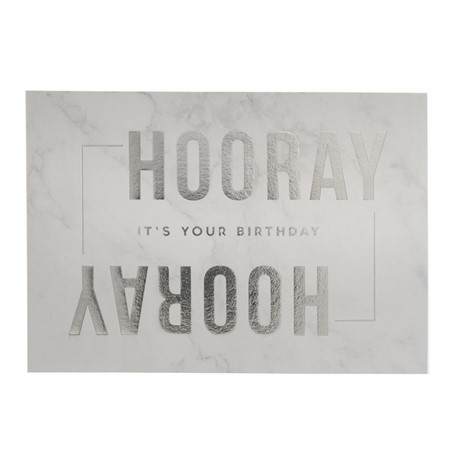 Hooray It's your Birthday Silver Foil Postcard