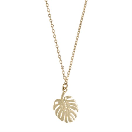 Monstera Necklace Gold