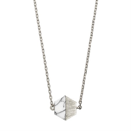Hexagon with Stone Setting Necklace  in Silver Marble