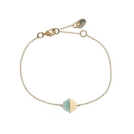 Hexagon with Stone Setting Bracelet in Gold Green Jade