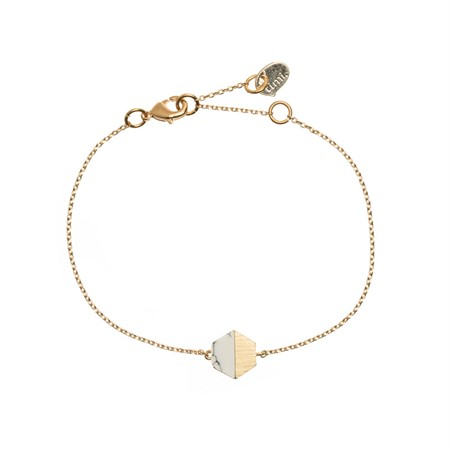 Hexagon with Stone Setting Bracelet in Gold Marble