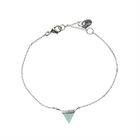 Triangle with Stone Setting Bracelet in Silver Green Jade