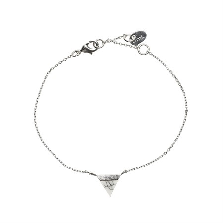 Triangle with Stone Setting Bracelet in Silver Marble
