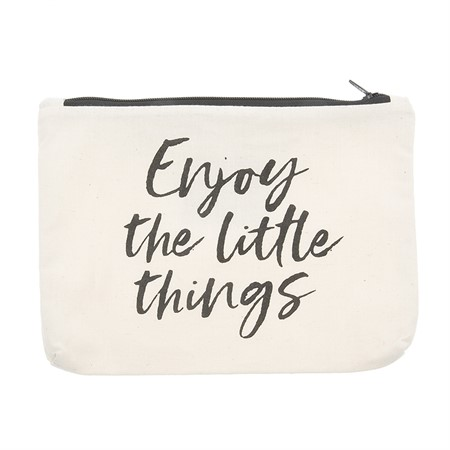 Canvass Pouch Enjoy the Little Things Black