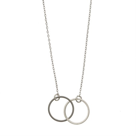 Double Circle Necklace Silver