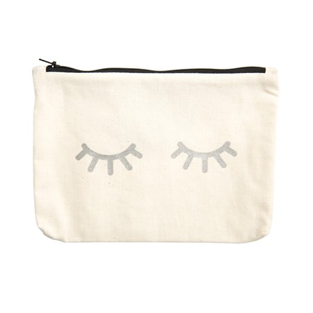 Canvass Pouch Eyes Metallic Silver