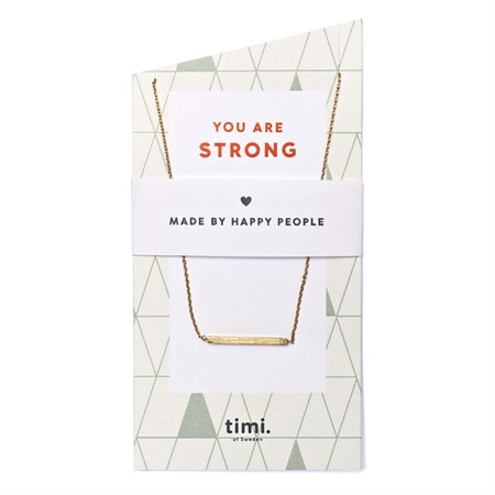 You are Strong Bar Necklace Gold