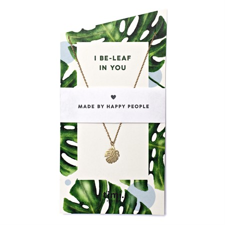 I Be-Leaf In You Monstera Necklace Gold