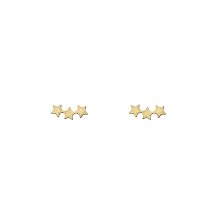 Three Star Earrings Gold