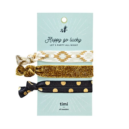 Hair Ties-White, Gold & Black