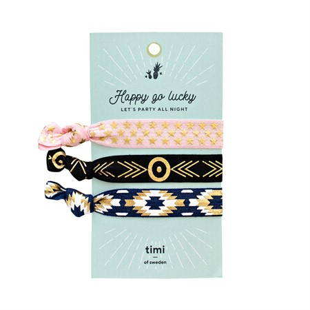 Hair Ties-Pink, Black & Blue