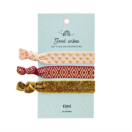 Hair Ties-Pink, Mauve & Gold