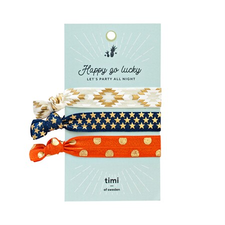 Hair Ties-White, Blue & Orange